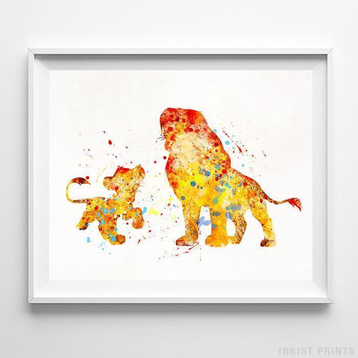 Lion King Family Simba Rafiki Mufasa Sarabi Watercolor Print Disney Nursery Art