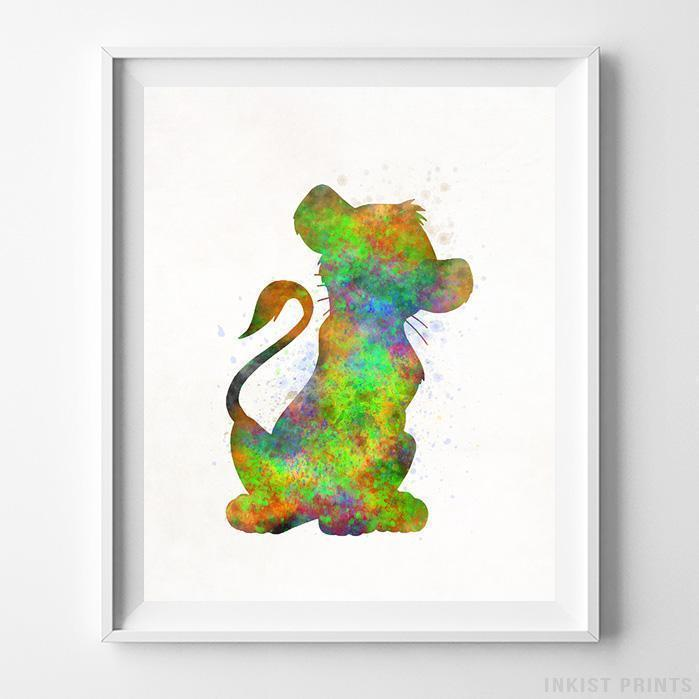 699x699 Simba The Lion King Type 1 Wall Art Disney Watercolor Poster