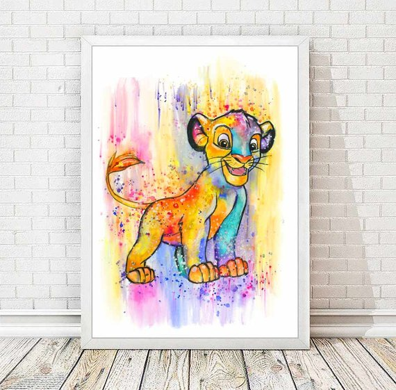 570x561 Simba Watercolor Abstract Print Disney Poster The Lion King Etsy