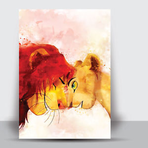 300x300 The Lion King Simba Amp Nala Framed Art Print Watercolour Wall