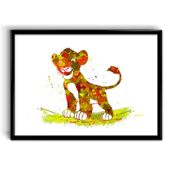 570x570 Instant Digital Download Simba Watercolor Art Print, The Lion King