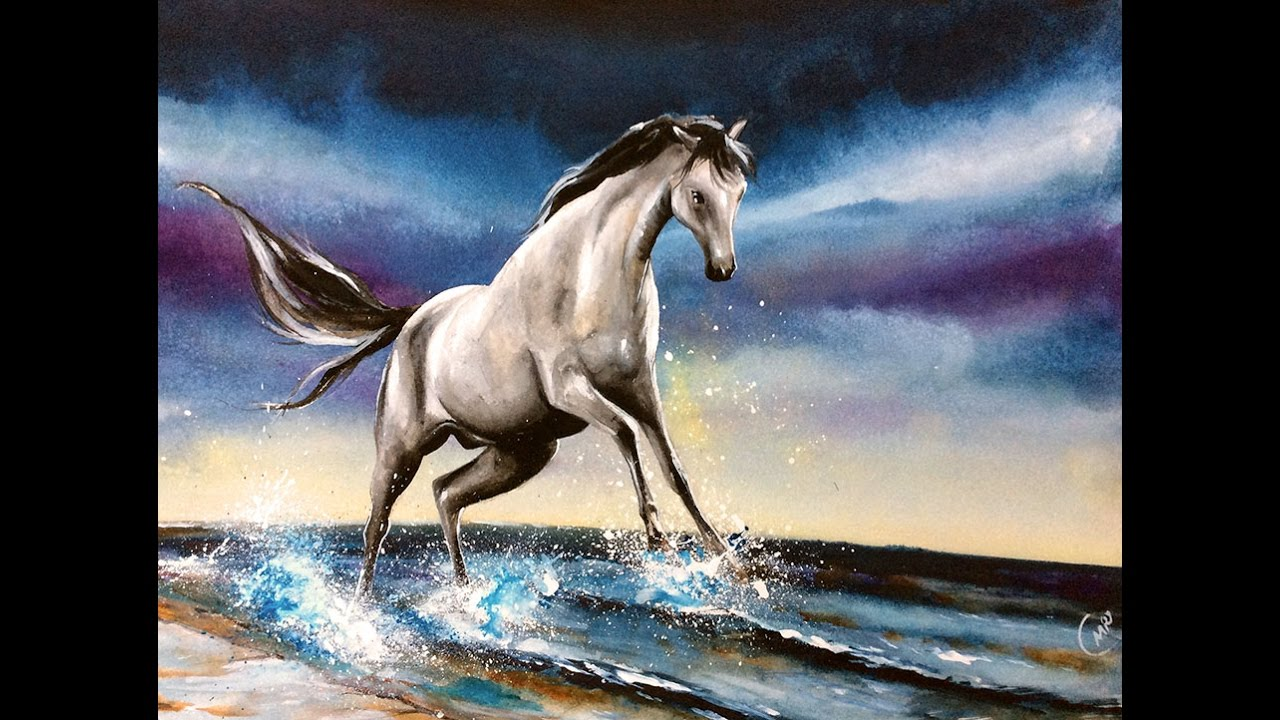 1280x720 Watercolor White Horse Painting Video Demonstration