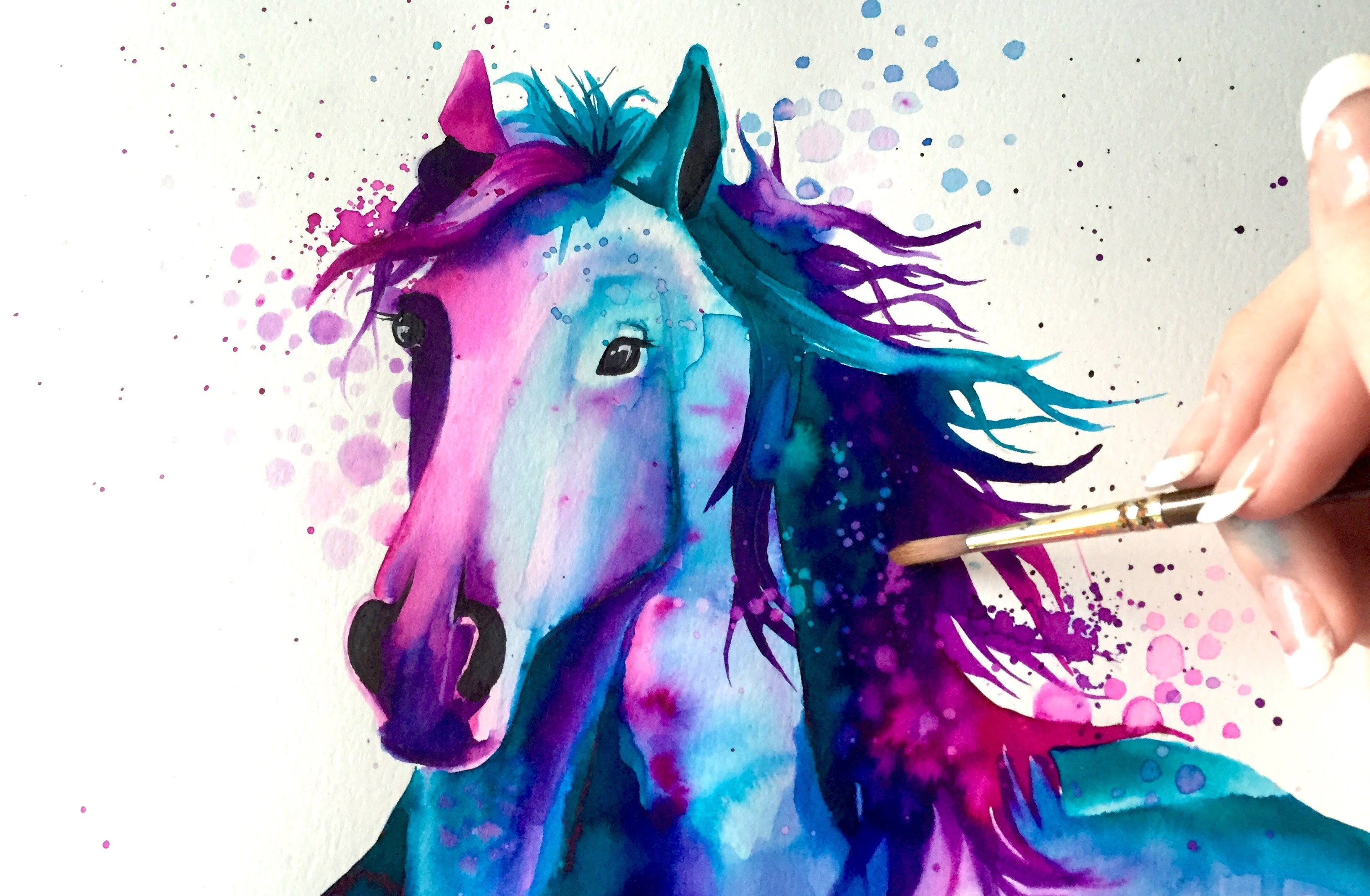 3264x2135 Watercolor Speed Painting Horse