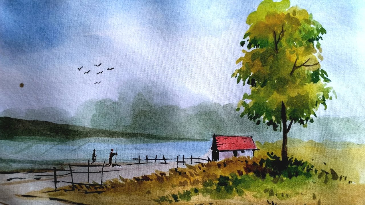 1280x720 How To Paint A Simple Landscape In Watercolor Paint With David