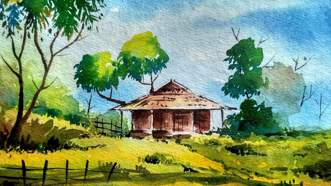 1280x720 Simple Landscape Drawing With Watercolor Simple Watercolor