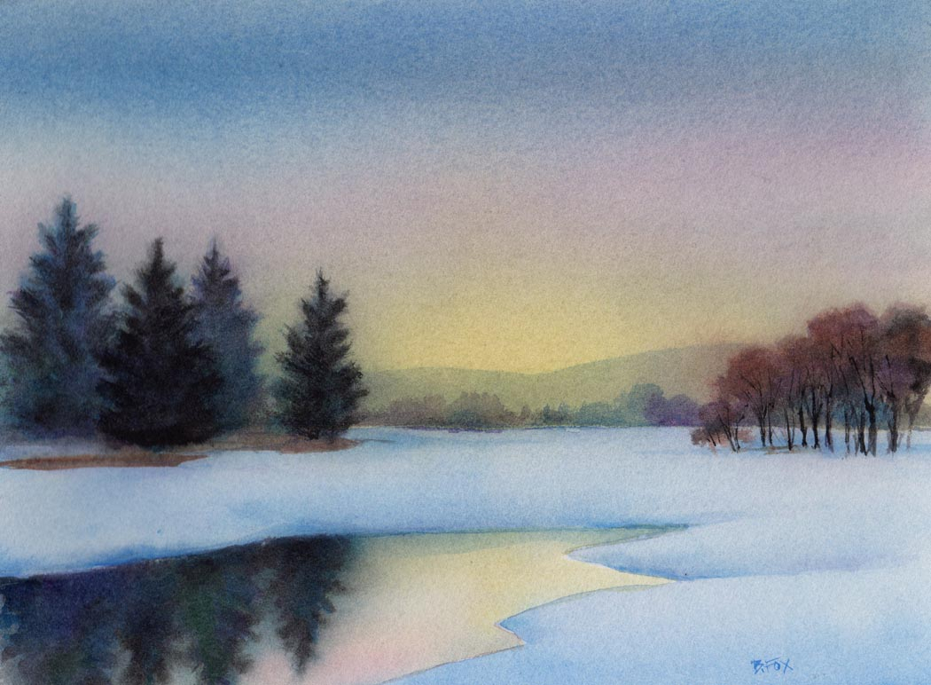 1050x772 Simple Landscape Watercolor Watercolor Landscape Simple Simple