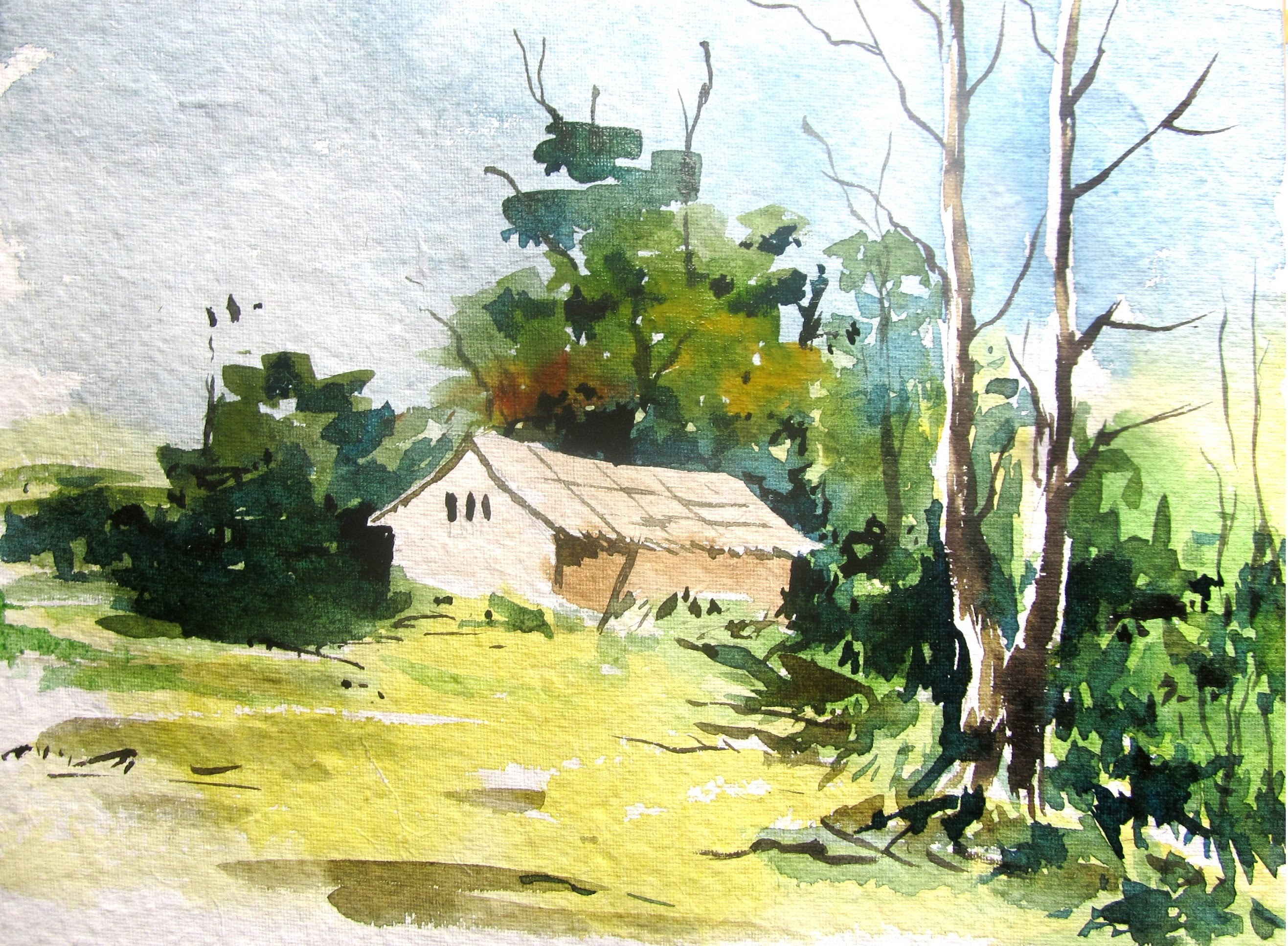 2633x1934 Easy Landscape Painting With Watercolor,watercolor Painting For