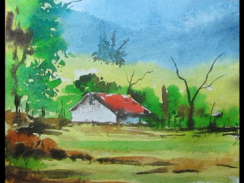 480x360 How To Paint A Simple Landscape In Watercolor
