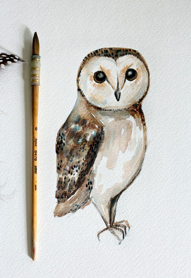 640x933 Diy Owl Watercolor Painting Artwork Ideas Simple