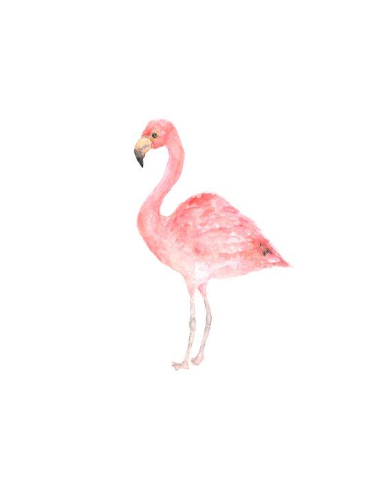 570x713 Flamingo Print, Watercolor Flamingo, Tropical Art, Tropical Print