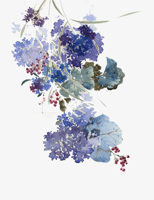 650x842 Blue Simple Watercolor Flower, Blue, Simple, Watercolor Png And