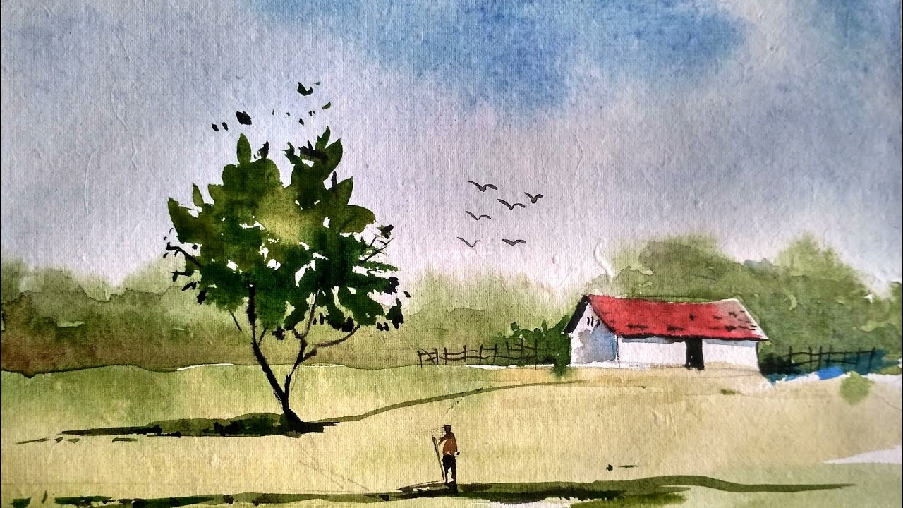 1280x720 Simple Landscape Paintings Watercolor Simple Watercolor Landscape