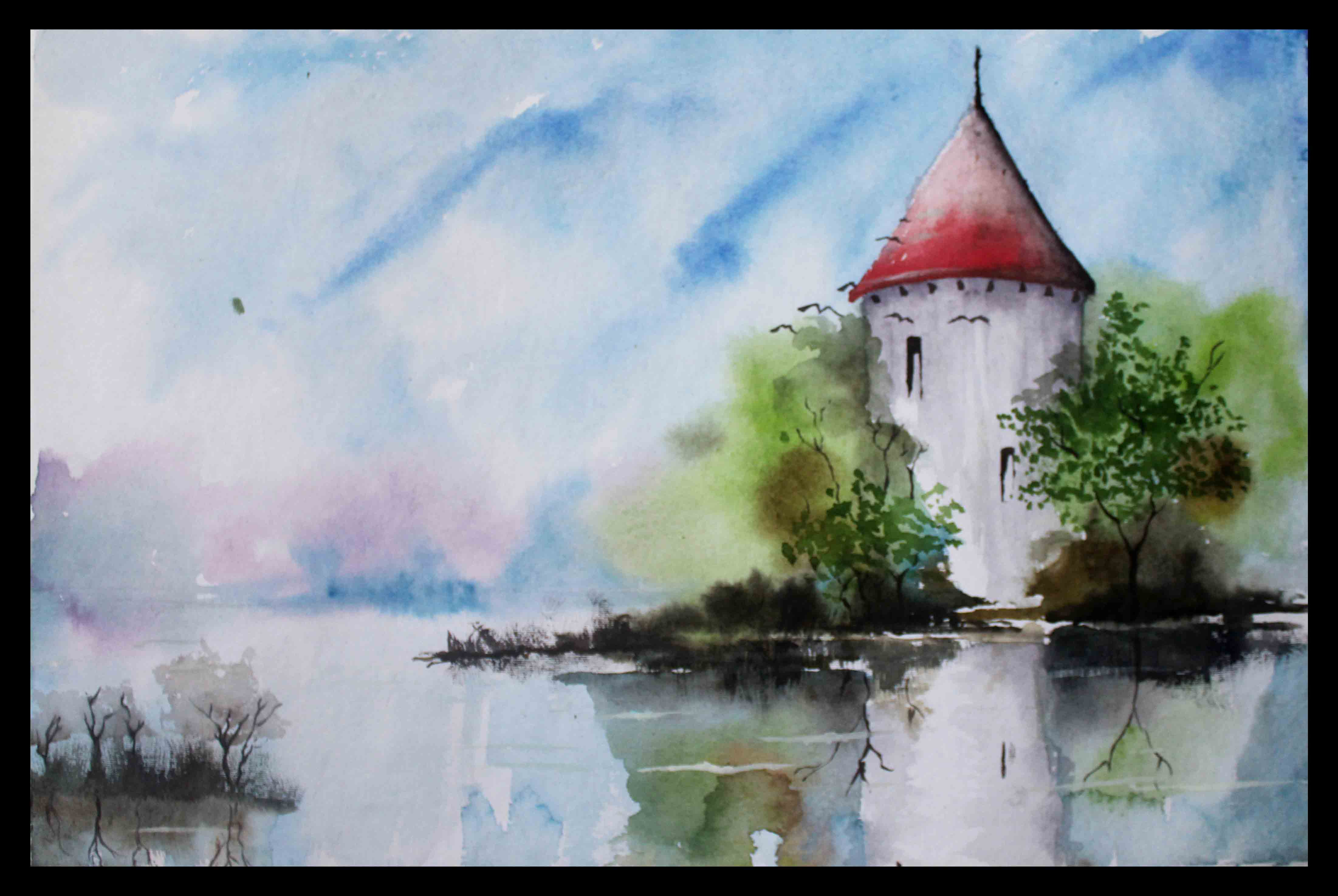 4404x2951 Simple Watercolor Landscape Paintings, Simple Landscape