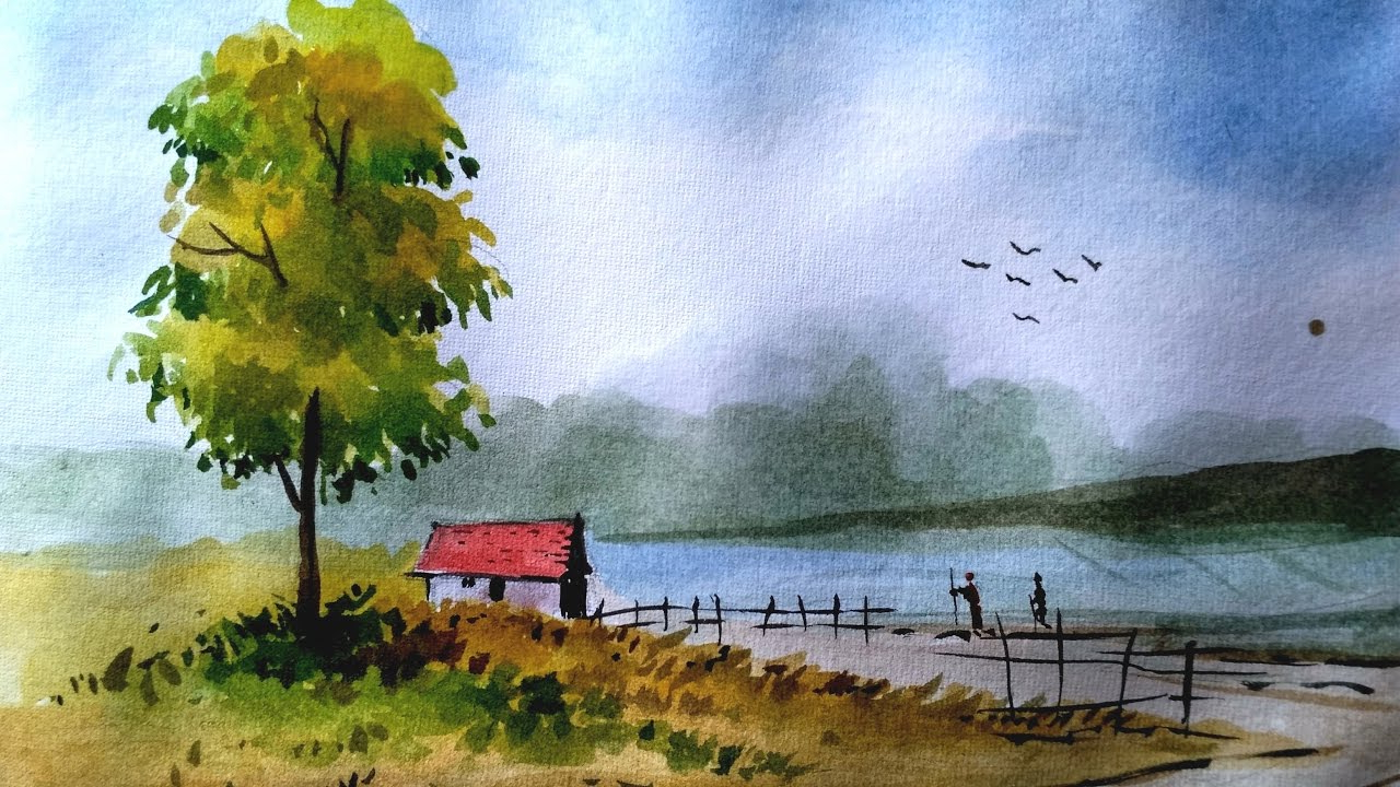 1280x720 Simple Watercolor Landscape Paintings Simple Landscape Paintings