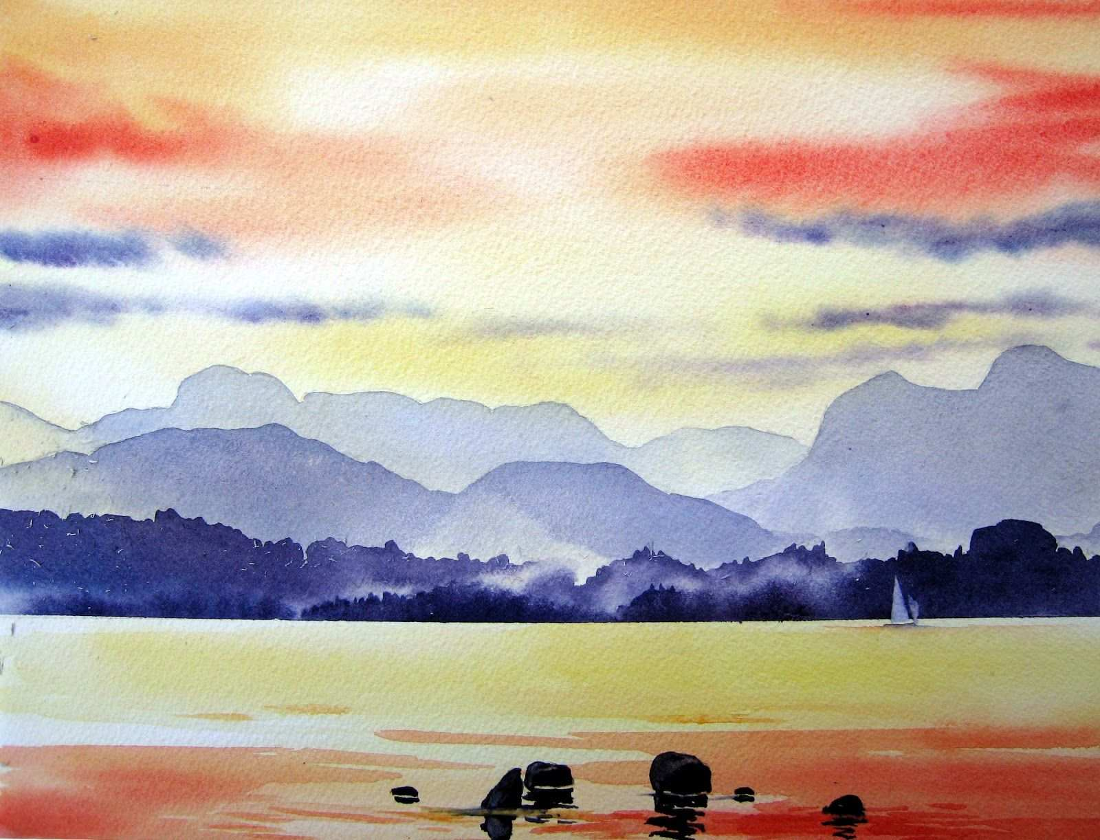 Simple Watercolor Landscape At Getdrawings Com Free For