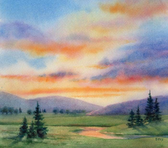 700x614 Easy Watercolor Paintings Daily Paintings Evening Blessing