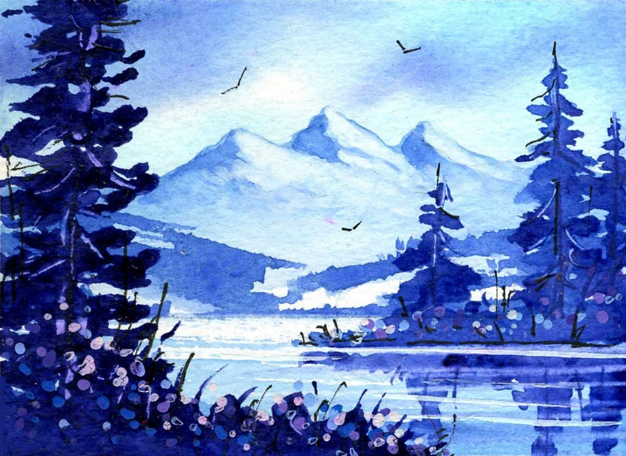 Simple Watercolor Mountains