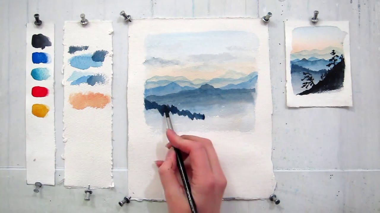 1280x720 Easy Step By Step Watercolor Tutorial Painting The Blue Ridge