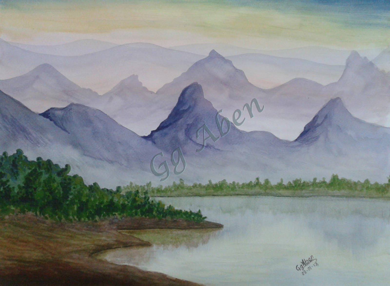 1600x1177 Garden Of Dreams Watercolor Painting Beauty Of Mountain