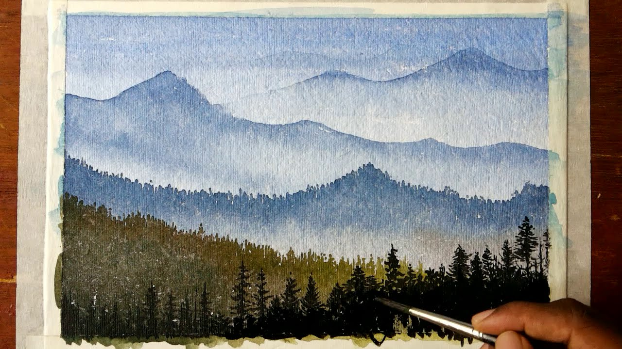 1280x720 How To Draw A Mountain Landscape With Watercolors