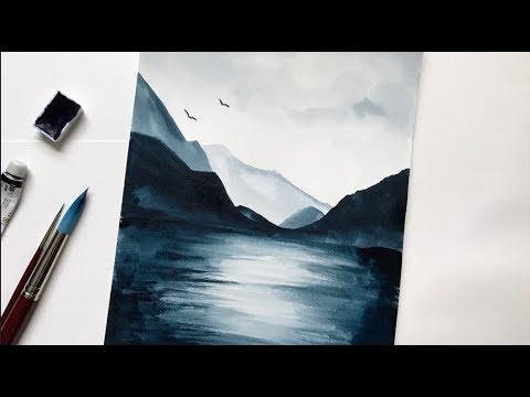 480x360 Mountain Amp Lake Watercolor Tutorial Step By Step Easy