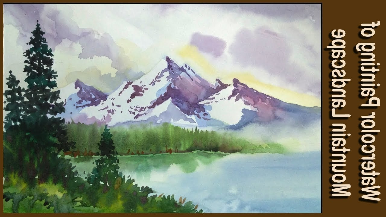 1280x720 Simple Landscape Paintings Of Mountains Watercolor Painting