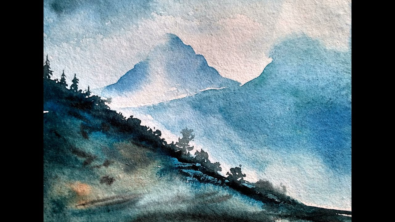 1280x720 Simple Mountain Landscape Watercolor Painting Tutorial For