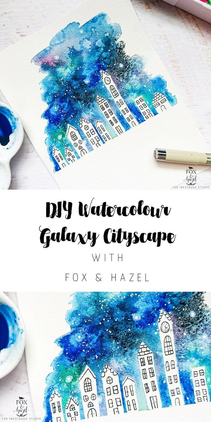 736x1472 Watercolor Galaxy Cityscape Diy Watercolor Galaxy, Watercolor