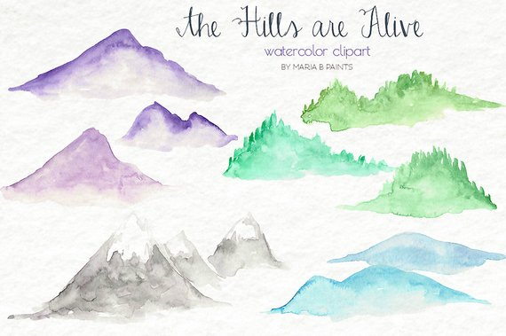 570x379 Watercolor Hills Clip Art Mountains Nature Simple Rolling Etsy