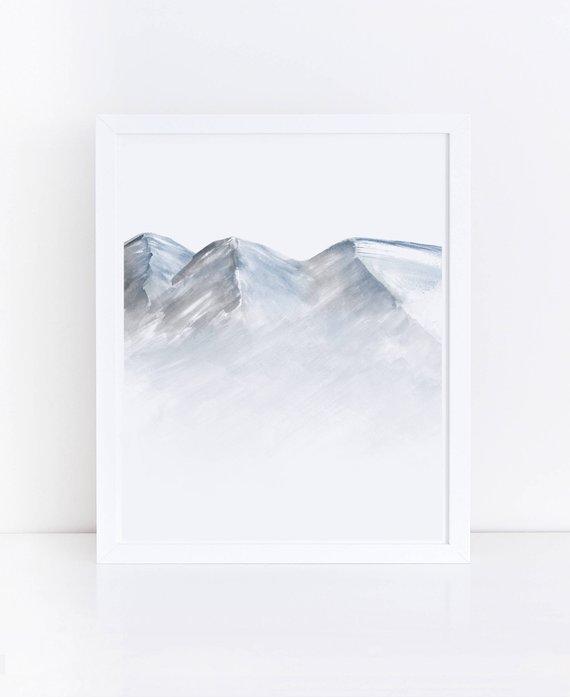 570x697 Watercolor Mountain Printable Art Mountain Print Blue Gray Etsy