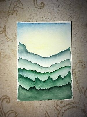 300x400 Aceo Original Watercolor Painting. Cute Green Trees. Simple