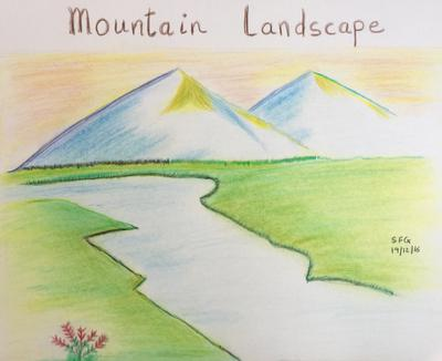 400x326 Drawn Mountain Simple Landscaping