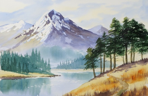 500x324 Easy Mountain Paintings