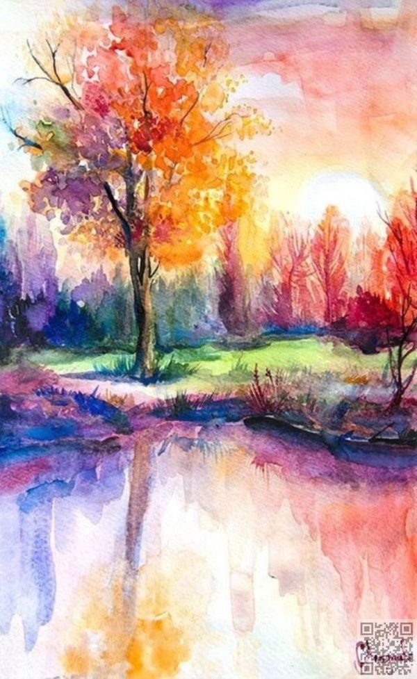 600x977 40 Simple Watercolor Painting Ideas Watercolor Painting Ideas My