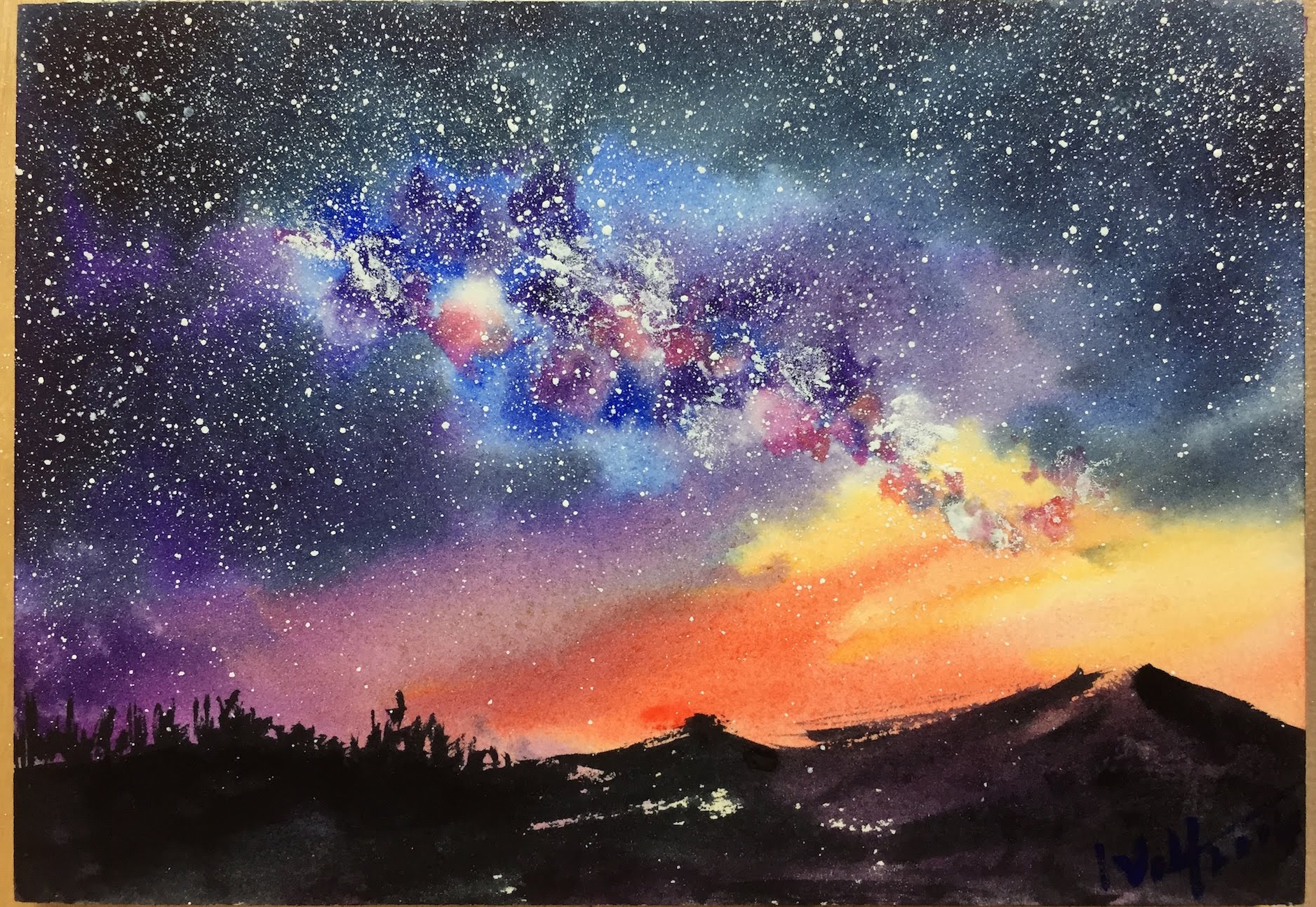 1876x1293 Watercolor Starry Night Sky Demonstration