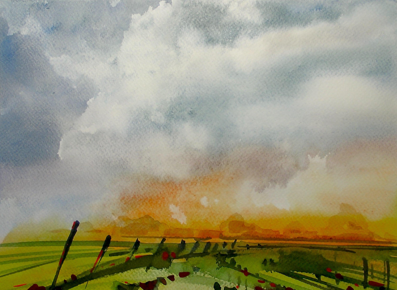 3000x2194 Watercolor Storm Sky Landscape 20x Speed