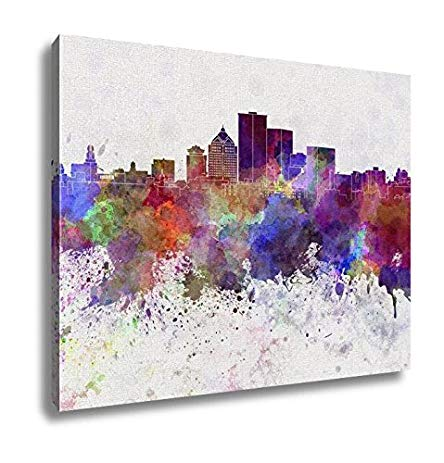 444x463 Ashley Canvas Rochester Ny Skyline In Watercolor Wall