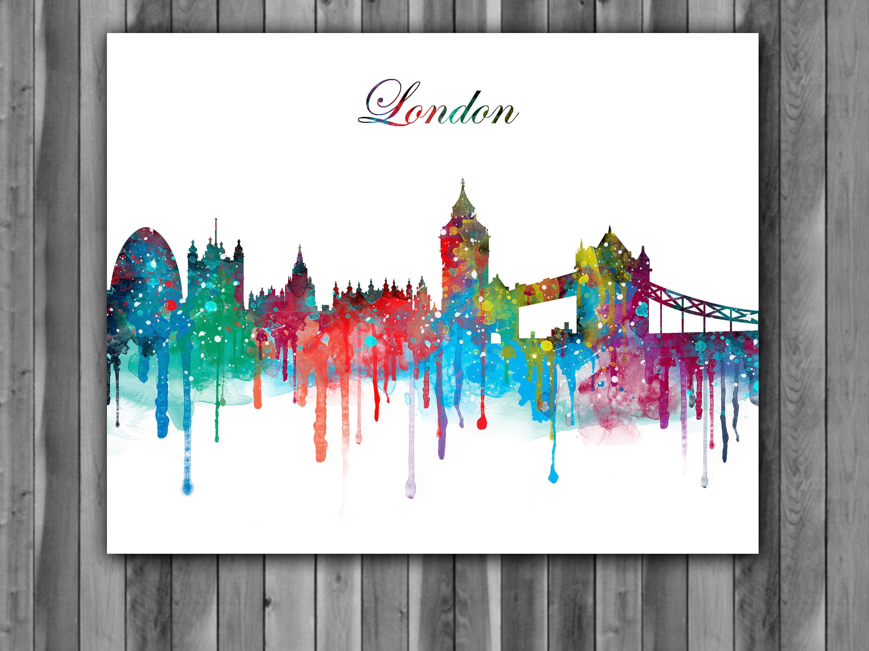 3000x2250 London Skyline Watercolor Print, London Skyline Art, London