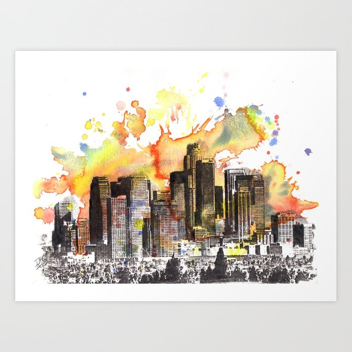 700x700 Los Angeles Cityscape Skyline Painting Art Print By Idillard