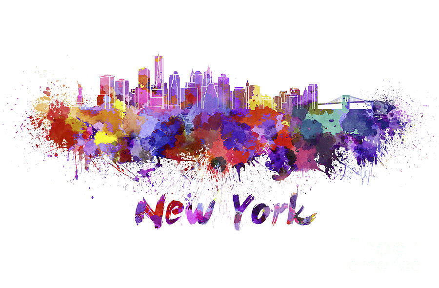 900x590 New York Skyline In Watercolor Painting By Pablo Romero