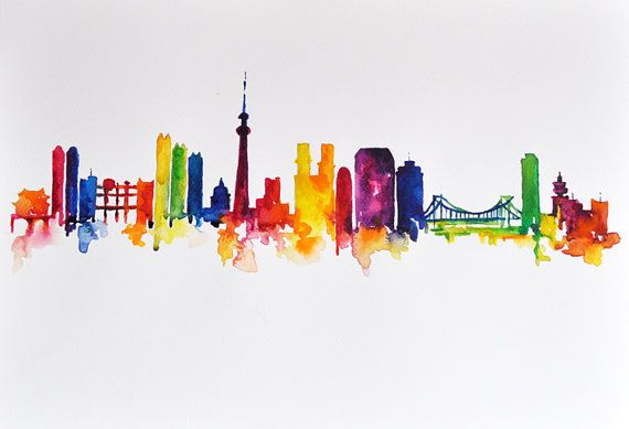 570x389 Original Abstract Skyline Watercolor Painting Amazing Art