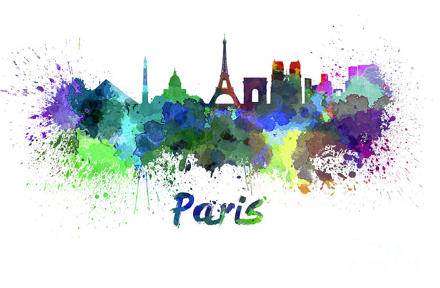 900x590 Paris Skyline In Watercolor Painting By Pablo Romero