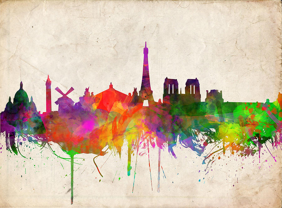 900x666 Paris Skyline Watercolor Painting By Bekim Art