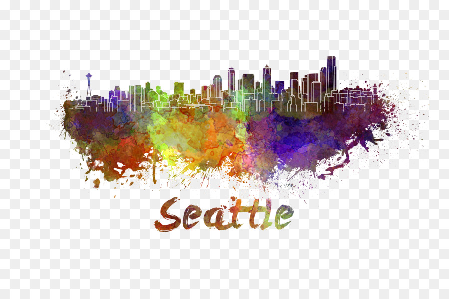 900x600 Seattle Watercolor Painting Skyline Stock Illustration