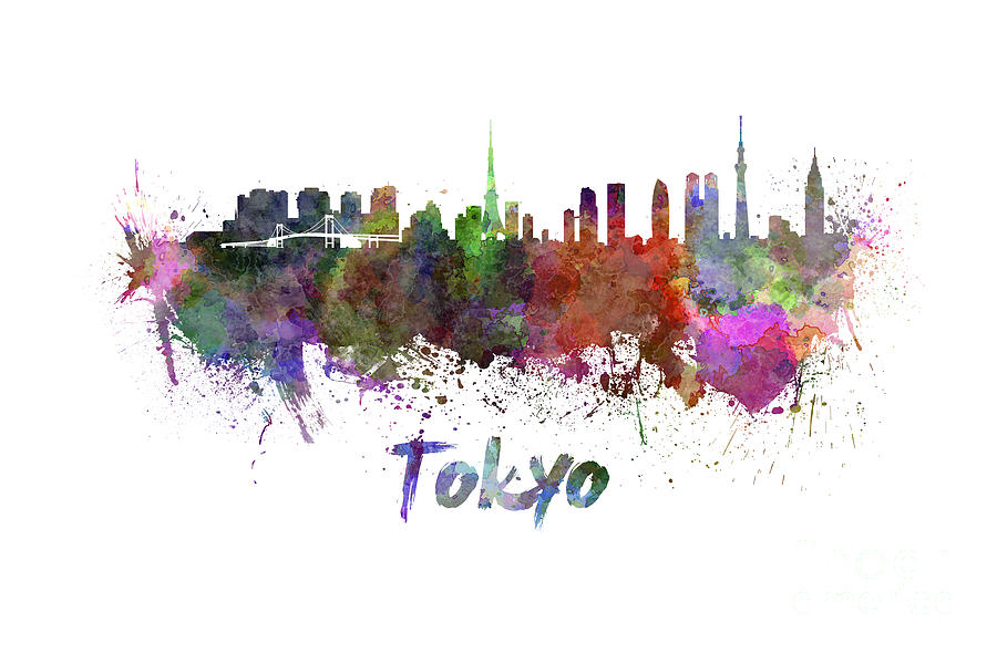 900x590 Tokyo Skyline In Watercolor Painting By Pablo Romero