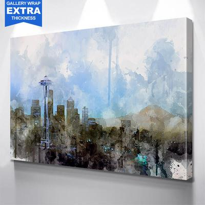 400x400 Black Seattle Skyline Watercolor Painting Wall Art