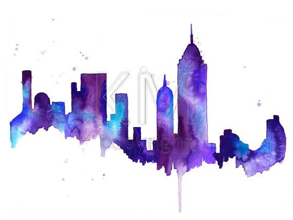 570x428 Watercolor Painting New York City Skyline Print Wall Art Abstract