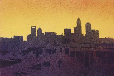 375x250 Watercolor Painting Of Charlotte, Nc Skyline