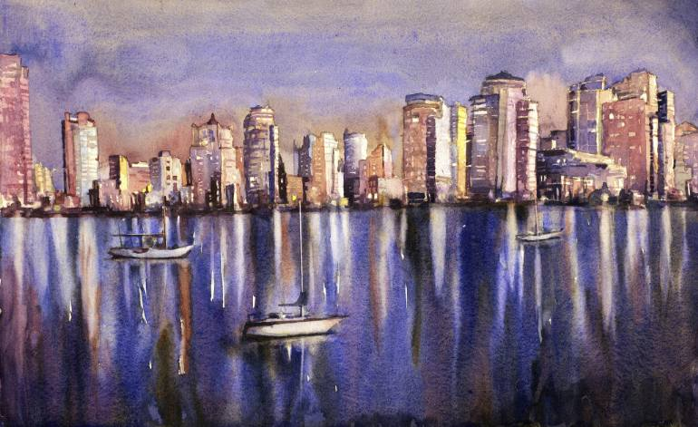 770x471 Watercolor Painting Of Vancouver Skyline With Boats In Harbor