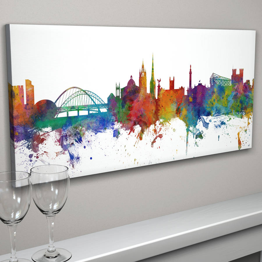 900x900 Newcastle England City Skyline By Artpause
